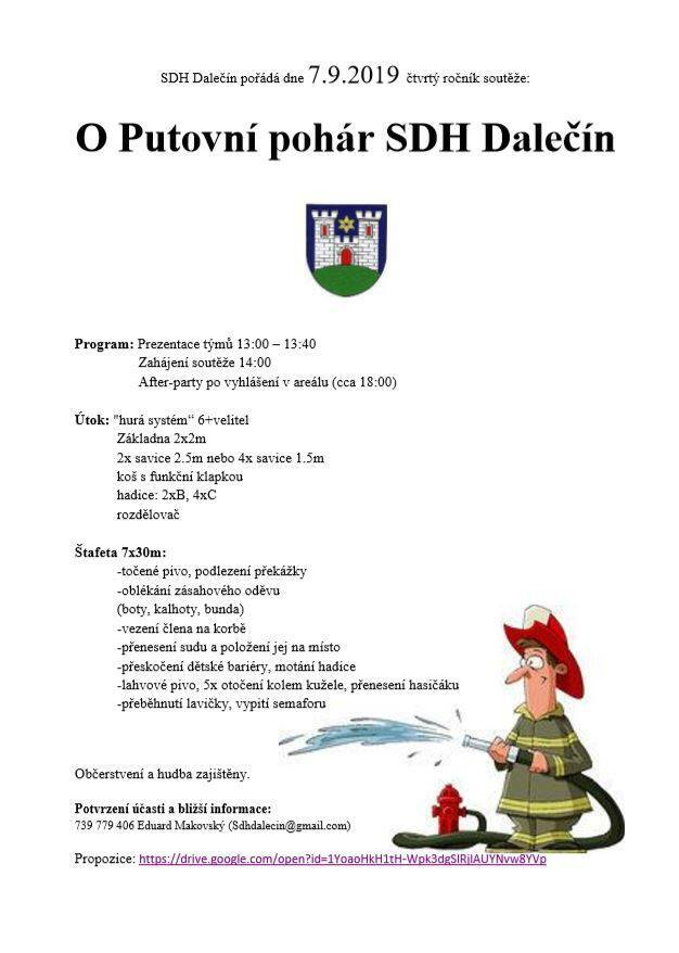 Soutěž O Putovní pohár SDH Dalečín- pozvánka na soutěž 2019