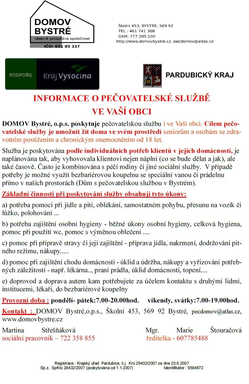 Možnost zajištění pečovatelské služby - DOMOV Bystré - letáček