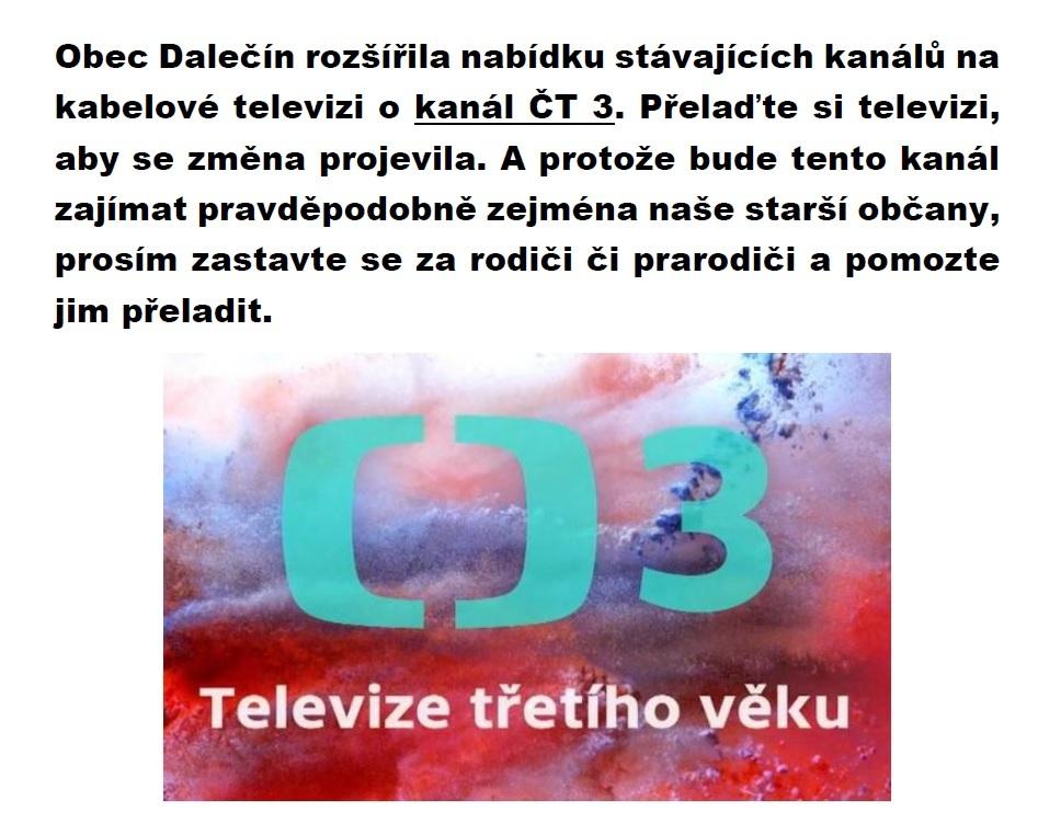 KTV má nový kanál - ČT 3 - informace