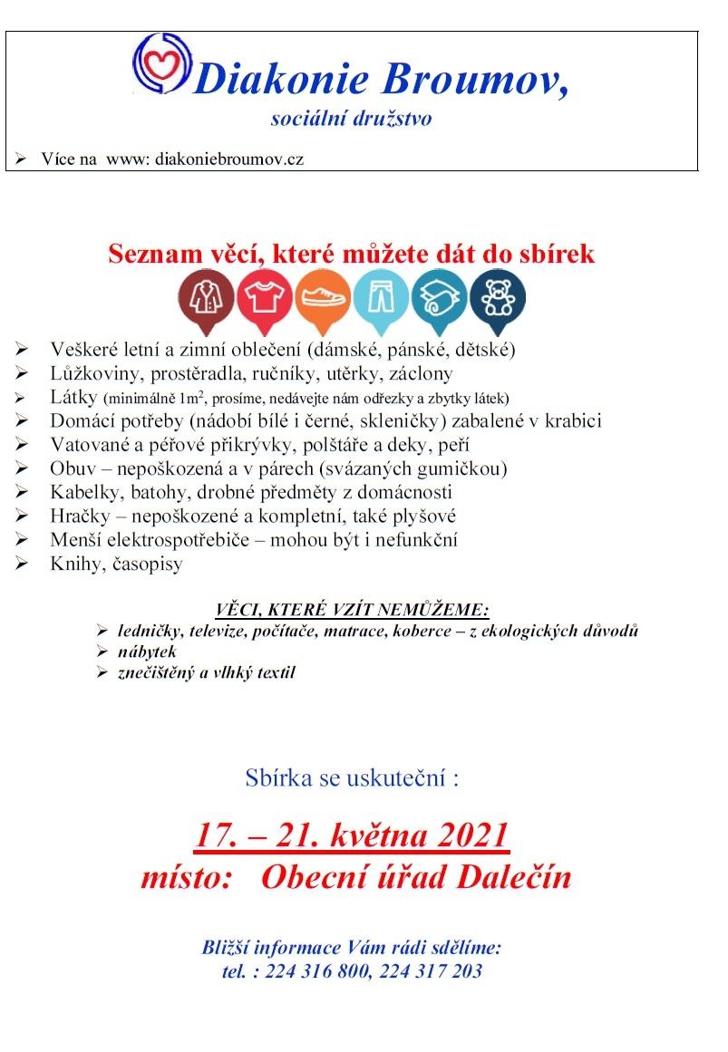 Diakonie Broumov - sbírka - informační plakátek
