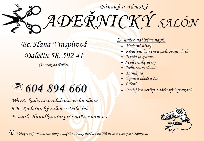 Služby - kadeřnictví - Bc. Hana Vraspírová - plakát - nabídka služeb