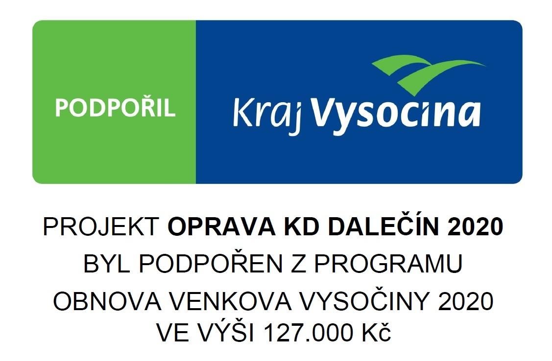 Projekty s podporou Kraje Vysočina - projekt Oprava KD Dalečín