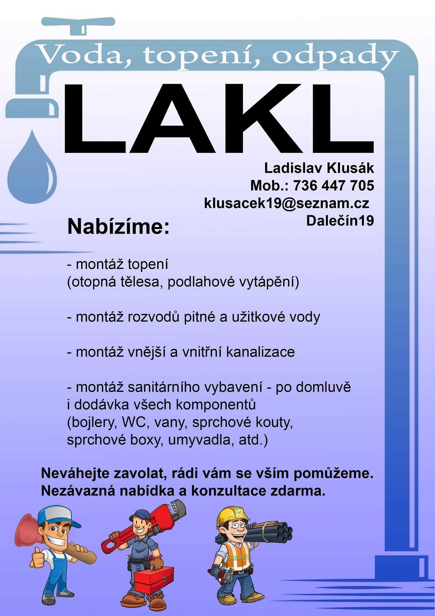 LAKL - voda topení plyn - letáček