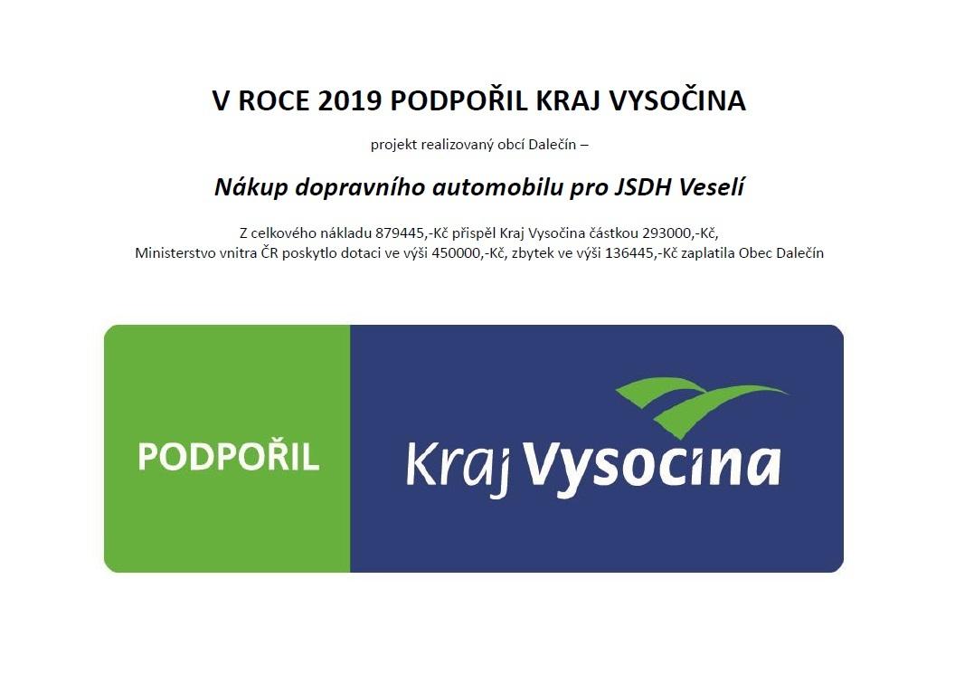 Projekt Nákup dopravního automobilu pro JSDH Veselí podpořil Kraj Vysočina - publicita