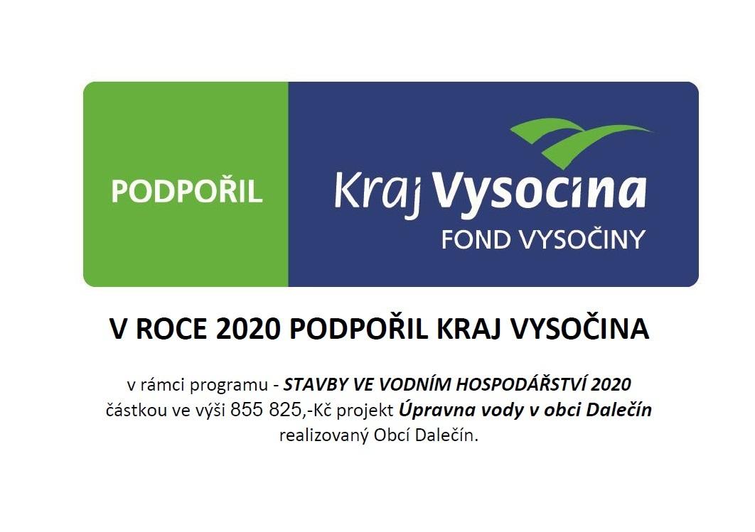 Projekt Úpravna vody v obci Dalečín podpořil Kraj Vysočina - publicita