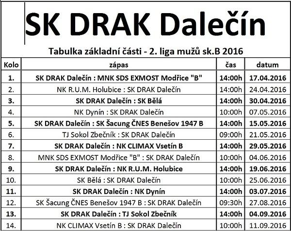 SK Drak - rozpis zápasů Nohejbal 2016
